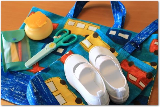 入園準備新しいカバン、靴、文具