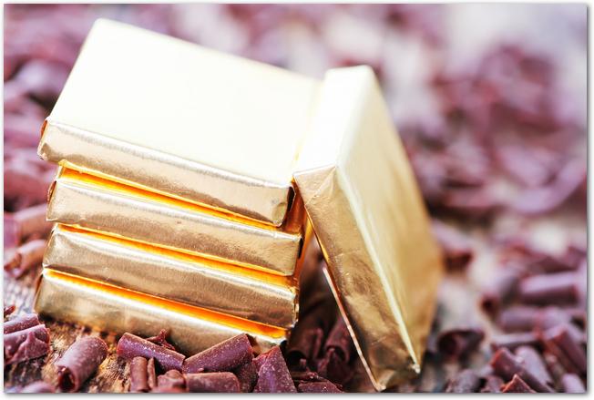 ゴールドにラッピングされたチョコレート