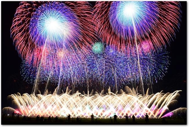 赤川花火大会の派手な打ち上げ花火の様子