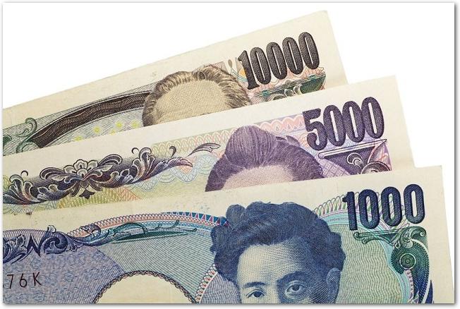 3種類の日本の紙幣の金額部分のアップ