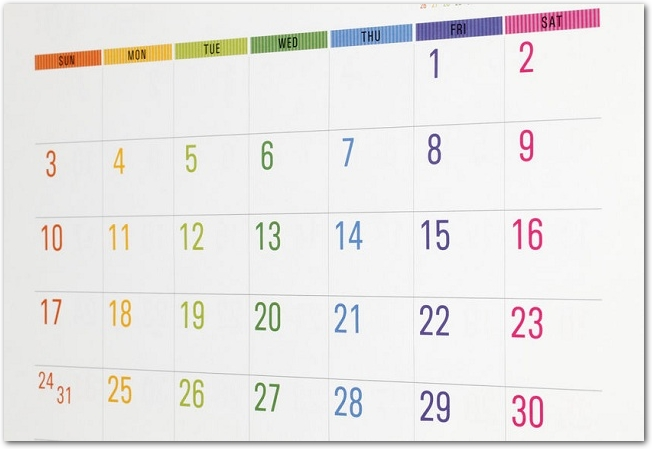 カラフルなマンスリーカレンダー