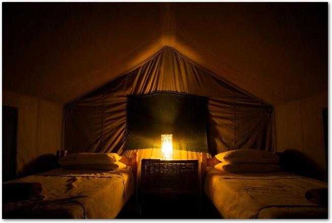 明かりの灯ったテントの中にベッドが2つ置いてある様子